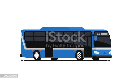 Blue public bus. Vector illustration in flat style. Isolated on white background.
