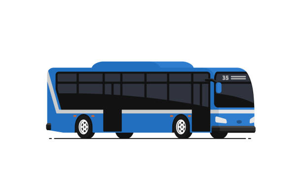 Blue public bus. Blue public bus. Vector illustration in flat style. Isolated on white background. bus stock illustrations