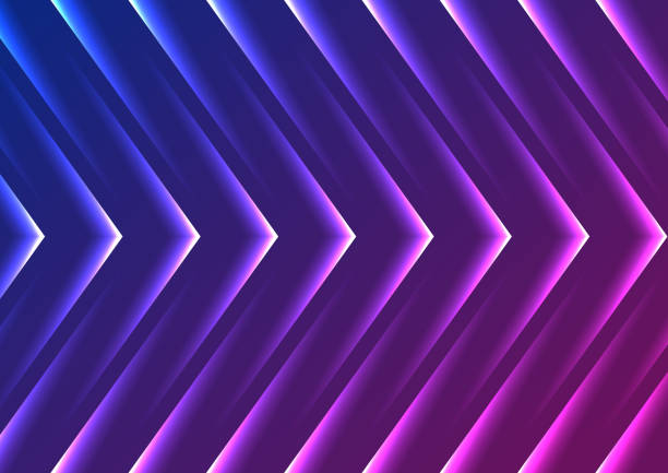 Blue purple abstract neon arrows tech background vector art illustration