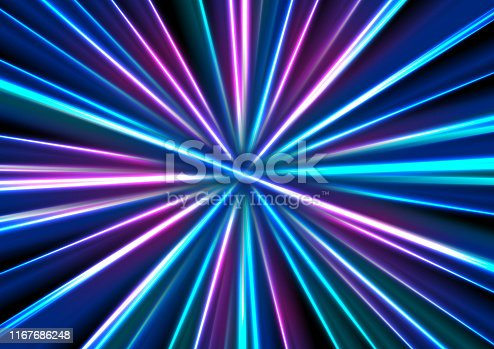 Blue purple neon glowing tech rays. Vector design of abstract smooth stripes beams. Futuristic background