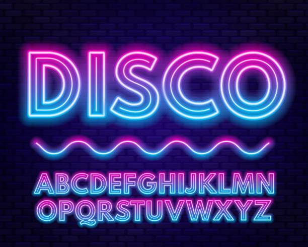 blue purple gradient neon alphabet on a dark background . bright font for decoration.capital letter. - dyskoteka stock illustrations