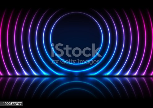 istock Blue purple neon laser circles technology background 1200877077