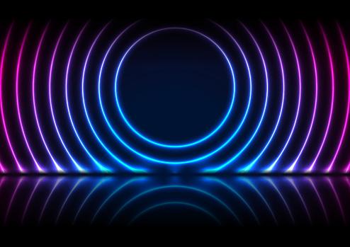 Blue purple neon laser circles technology background
