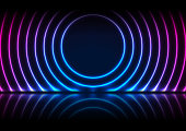 Blue and purple neon laser circles with reflection. Abstract technology background. Futuristic glowing vector design