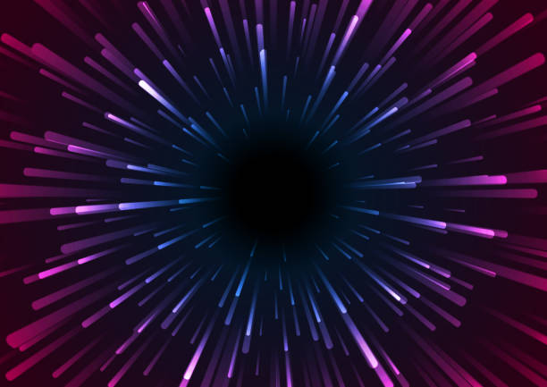 Blue purple neon space starburst abstract background vector art illustration