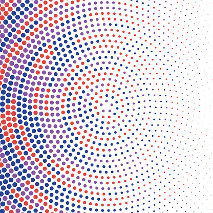 Blue, purple, red dots in circular pattern with size gradient fading to the right