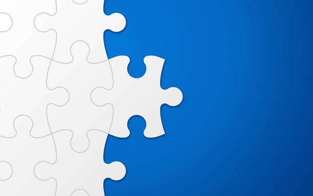 Blue Puzzle Piece Background Vector Art Illustration