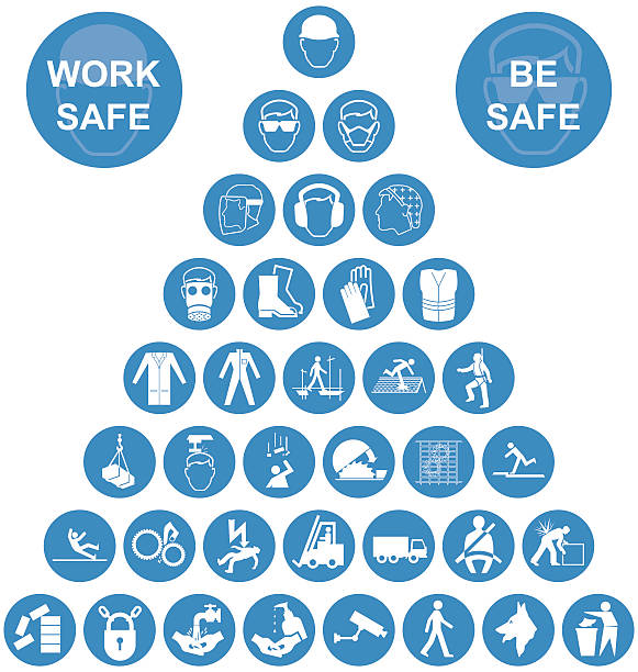 Blue Pyramid Health and Safety Icon collection Blue and white construction manufacturing and engineering health and safety related pyramid icon collection isolated on white background with work safe message hair net stock illustrations