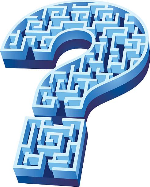 Blauen Fragezeichen Labyrinth isoliert auf weißem Hintergrund – Vektorgrafik