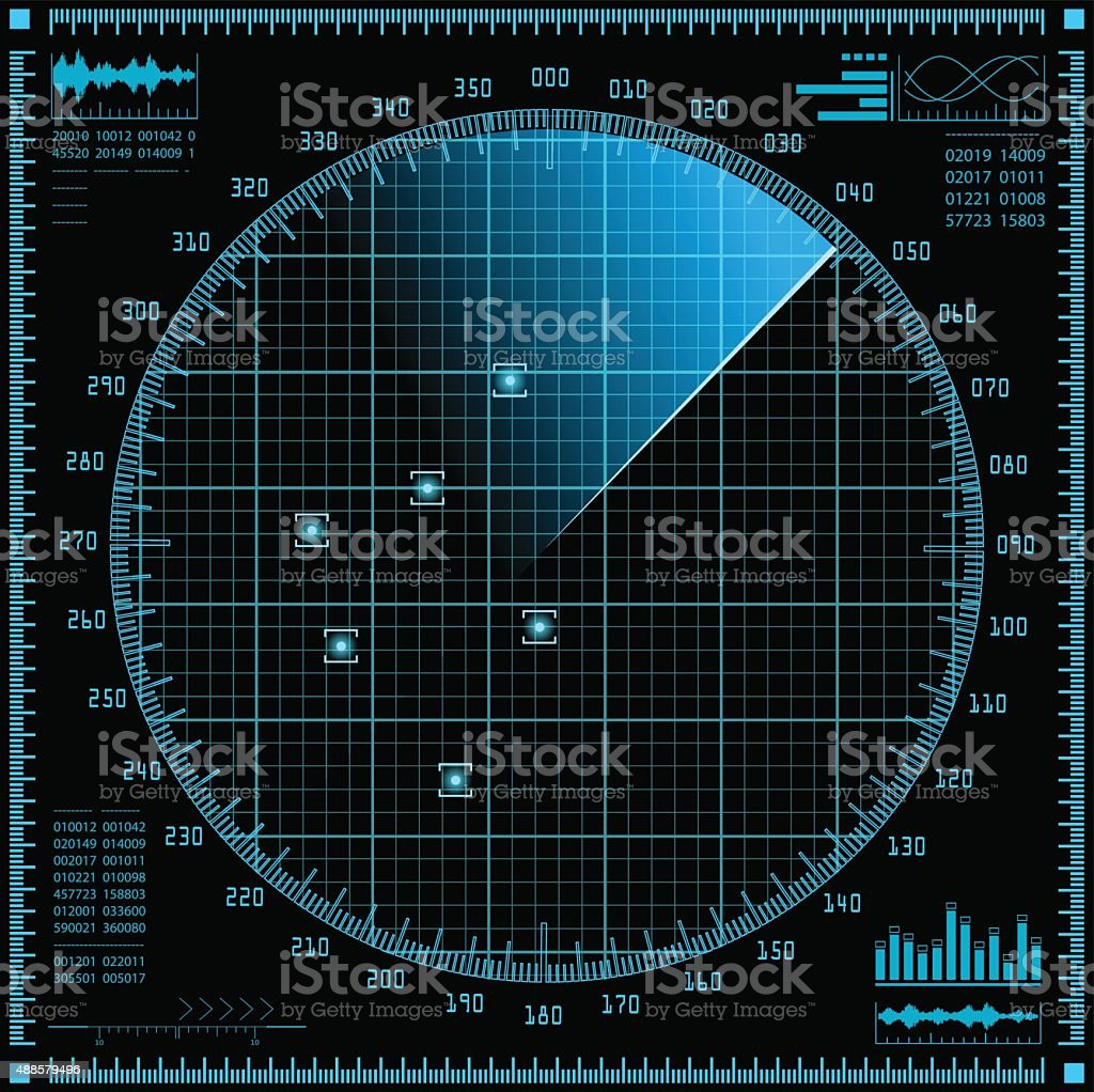 Blue radar screen. HUD interface. vector art illustration