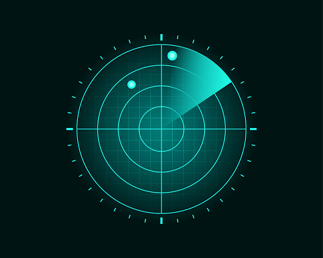 Blue Radar Screen Scanning Surrounding And Incoming Aerial Traffic