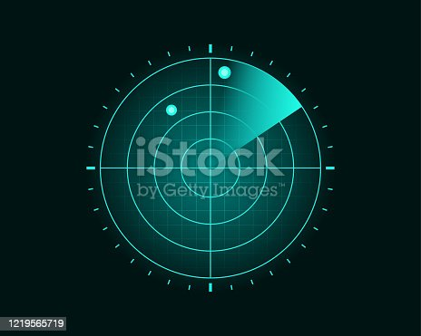 istock Blue Radar Screen Scanning Surrounding And Incoming Aerial Traffic 1219565719