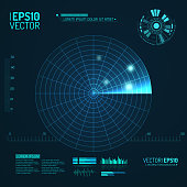 Blue radar screen. Vector illustration for your design. Technology background