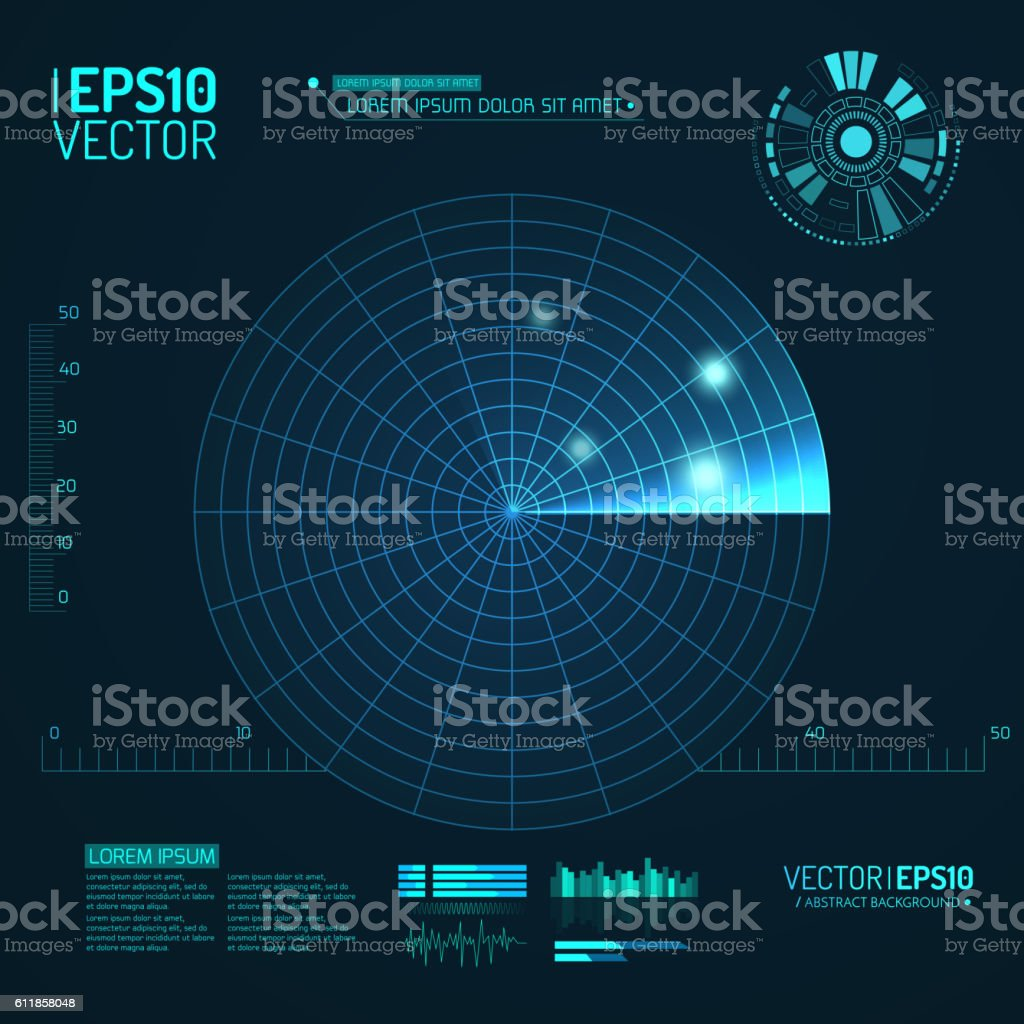 Blue radar screen. Vector illustration for your design. Technology background vector art illustration