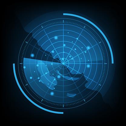 Blue radar screen with map, stock vector
