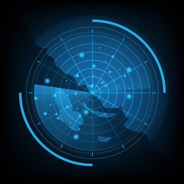 blue radar screen with map - radar stock illustrations