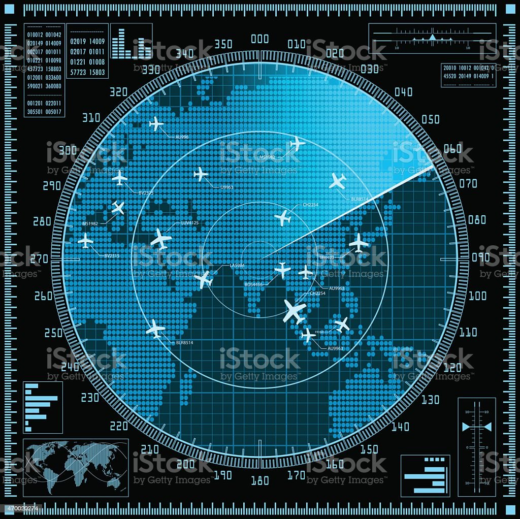 Blue radar screen with planes and world map vector art illustration