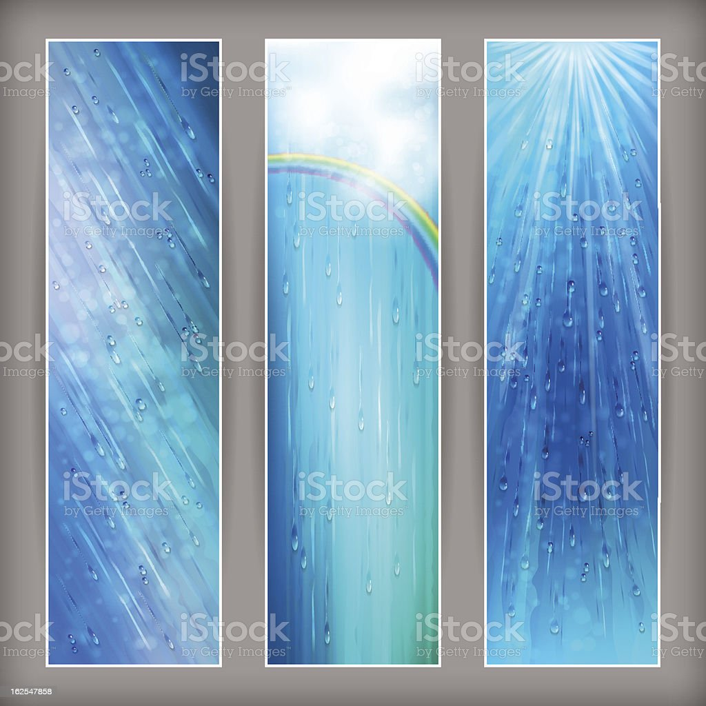 Blue rain banners Abstract water background design royalty-free stock vector art