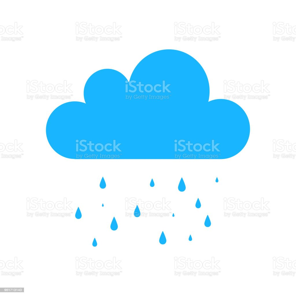 blue rain icon isolated on background modern simple flat sign