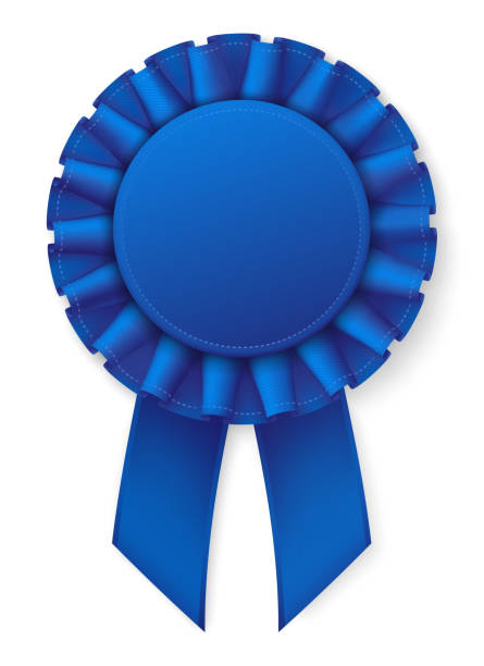 blue realistic award badge. fabric ribbon with texture. white thread border. - ribbon sewing item stock illustrations