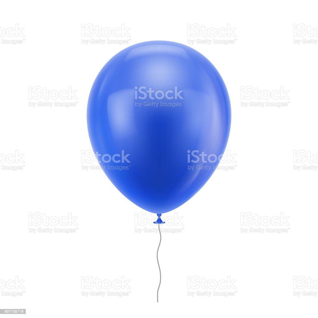 Balão azul realista - ilustração de arte em vetor
