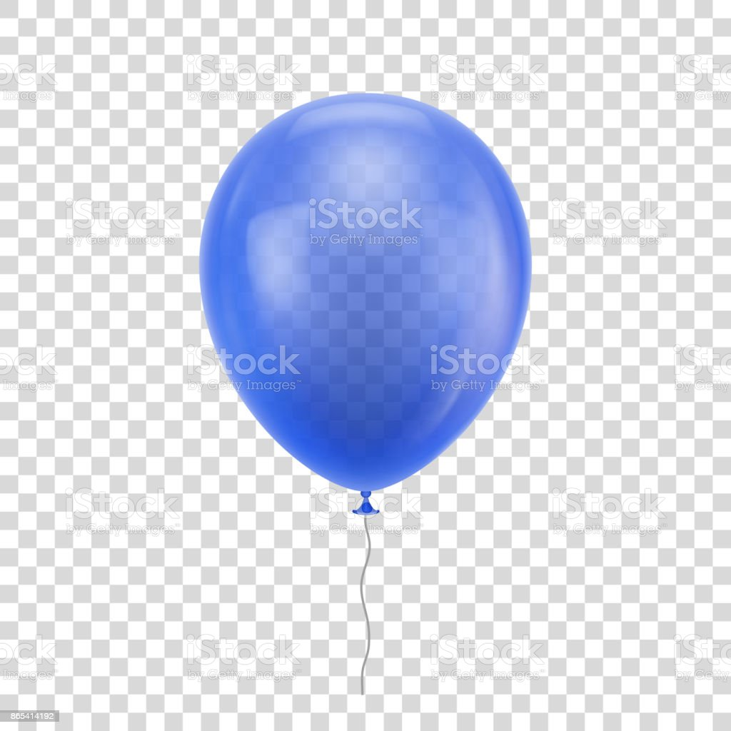 Blue realistic balloon. vector art illustration