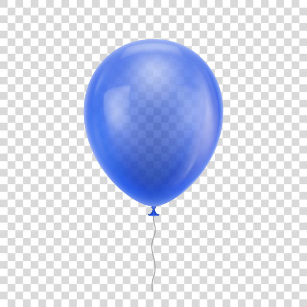 Blue realistic balloon. Blue realistic balloon. Blue ball isolated on a transparent background for designers and illustrators. Balloon as a vector illustration hot air balloon stock illustrations