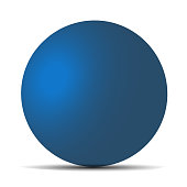 Blue realistic matte sphere isolated on white. Vector illustration for your design. Eps 10.