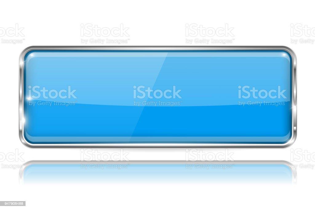 Botón De Vidrio Del Rectángulo Azul Icono 3d Con Marco De Cromo ...