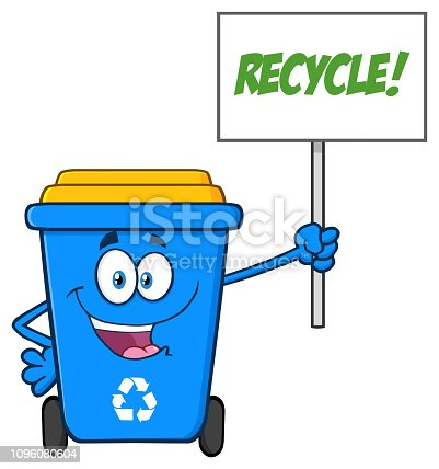 istock Blue Recycle Bin Cartoon Mascot Character Holding Up A Recycle Sign 1096080604