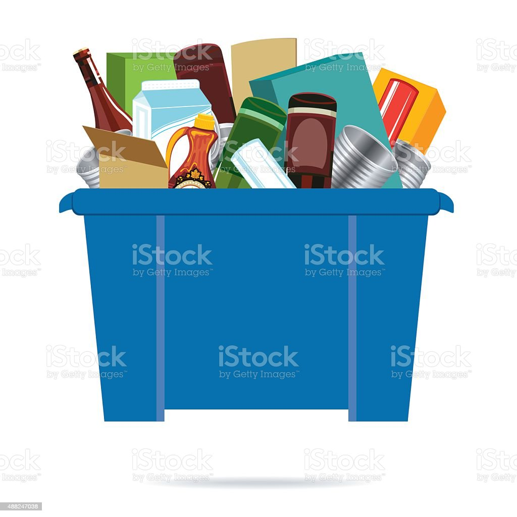 Blue Recycling Bin Filled With Empty Tin Cans vector art illustration