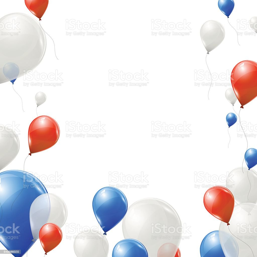 Blue, red and white balloons on white background. vector art illustration