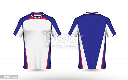 Blue, red and white layout e-sport t-shirt design template