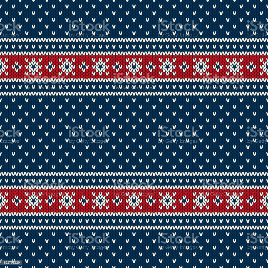 Blue, Red and White Seamless Knitted Pattern. Christmas and New Year Holiday Design Background with a Place for Text vector art illustration
