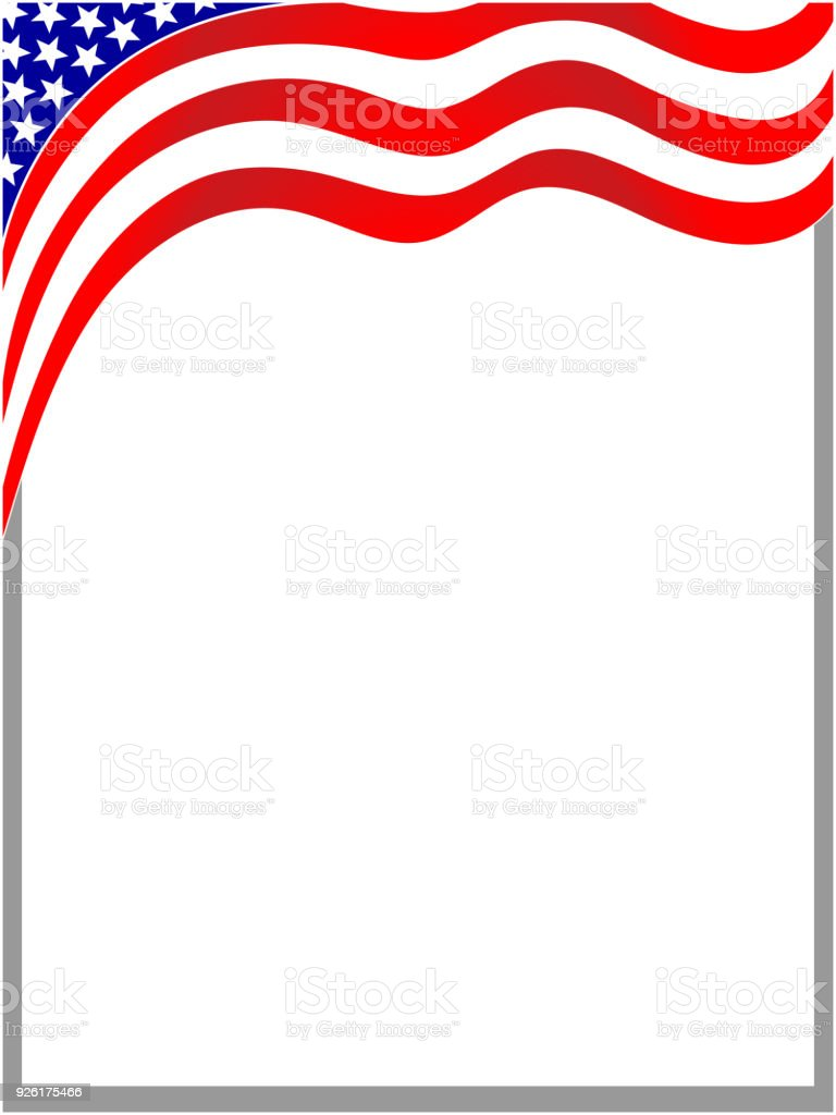 Usa Blue Red Flag Frame Wave Stock Vector Art & More Images of ...