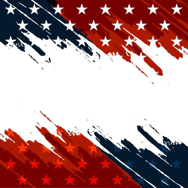 ilustraciones, imágenes clip art, dibujos animados e iconos de stock de trazos de rojo azul - bandera de estados unidos