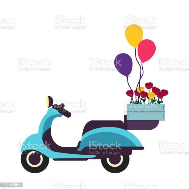 Blue retro scooter with roses in a box and balloons flat design vector id1044929844?b=1&k=6&m=1044929844&s=612x612&h=ozcxubvxdqq5ffekkjhxqlqhtlrmjpr6jzw2t 2cf5c=