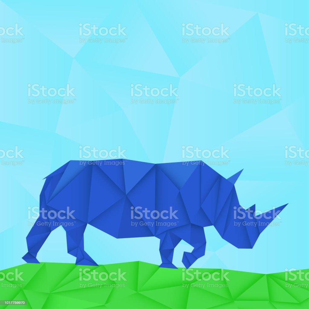 Rhinoceros Bleu Papier Polygonale Vecteurs libres de droits et plus ...