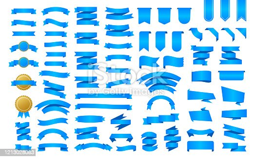 istock Blue Ribbon banner. Ribbons, great design for any purposes. Royal ribbon. Decoration element. Medal set. Discount banner promotion template. Discount sticker. Vector stock illustration. 1213028083
