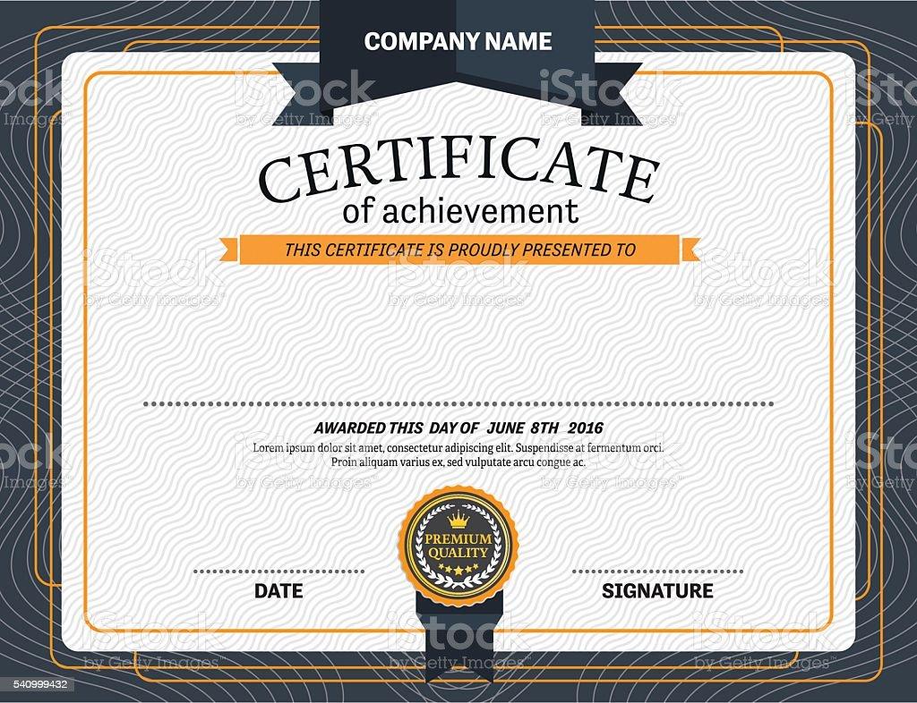 blue ribbon certificate diploma design template vector illustration