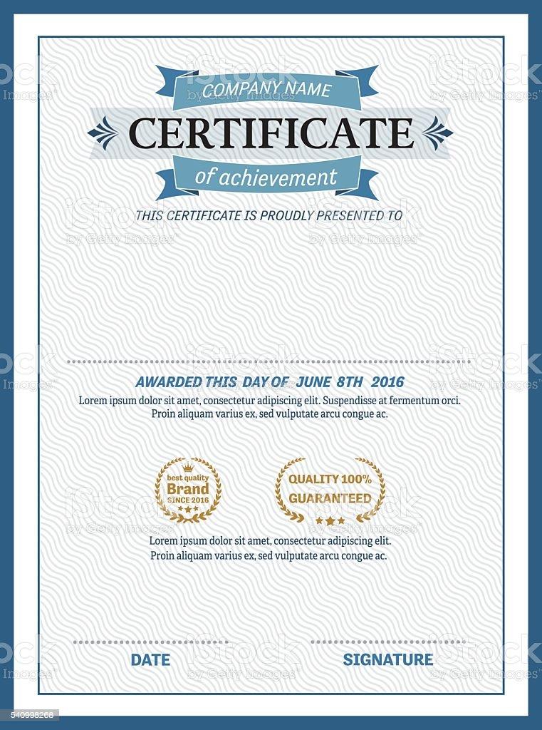 blue ribbon certificate diploma template design vector illustration