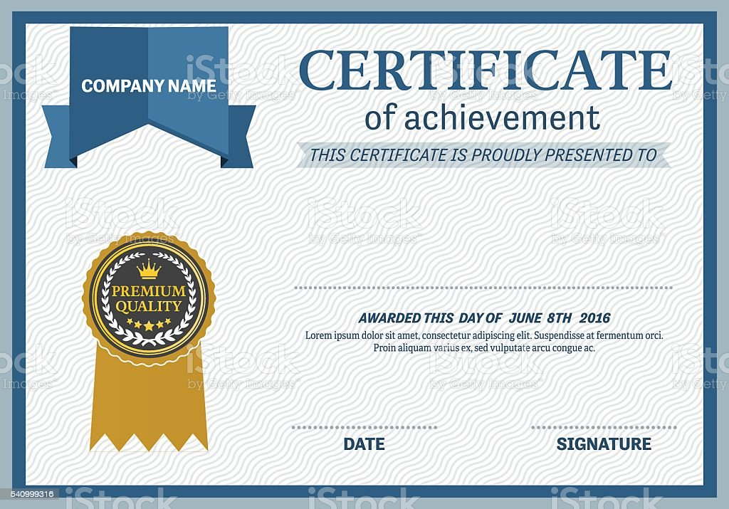 blue ribbon design certificate diploma template vector illustration