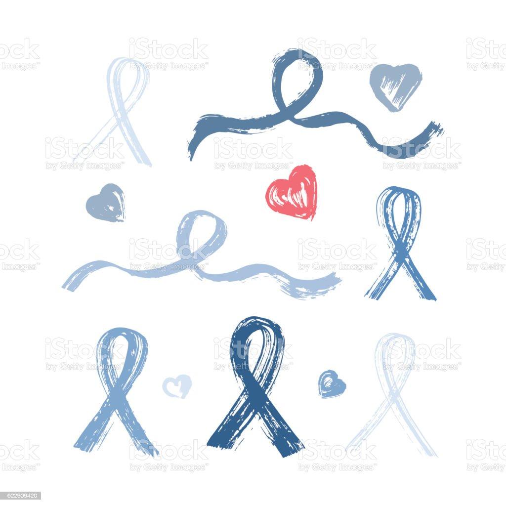 Blue Ribbon Grunge Brush Strokes. Prostate Cancer Awareness Sign vector art illustration