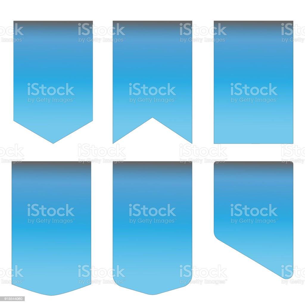 blue ribbon set on white background. vector blue ribbon banner. silk...