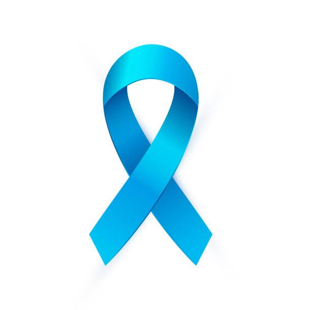 stockillustraties, clipart, cartoons en iconen met blauw lint aan prostate cancer awareness month. - prostaatkanker