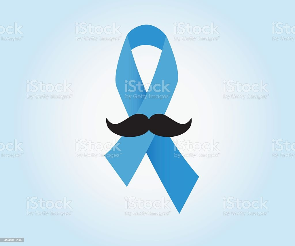 Blue ribbon with mustache vector art illustration