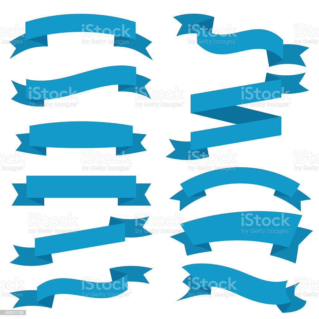 Blue Ribbons Set isolated On White Background. Vector Illustration vector art illustration