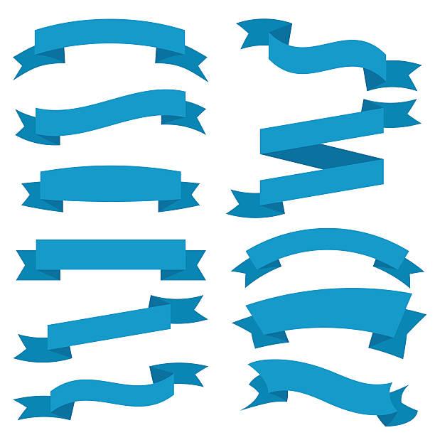 Blaue Bänder Set, isoliert auf weißem Hintergrund. Vektor-Illustration – Vektorgrafik