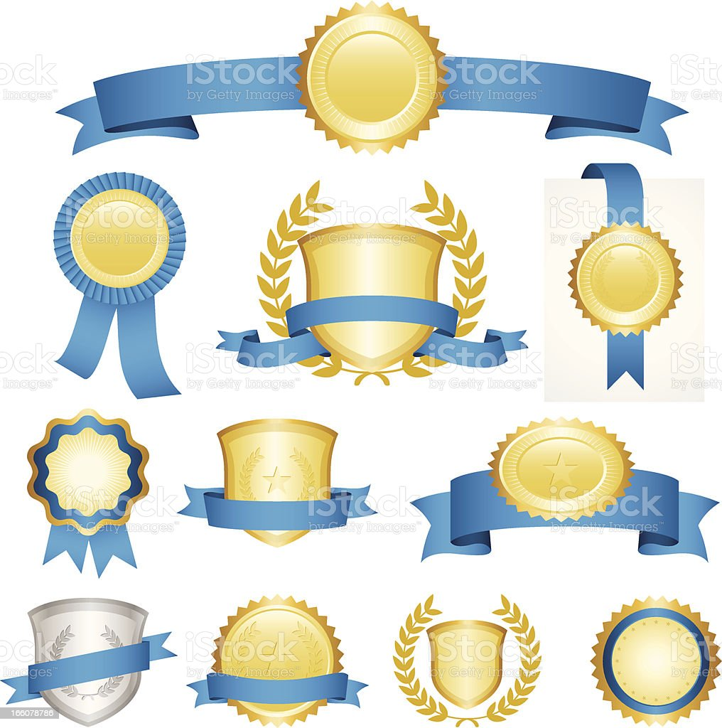 Blue ribbons set royalty-free blue ribbons set stock vector art & more images of badge
