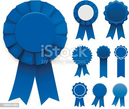 Assorted blue ribbons. Global colour swatches are easily modified.